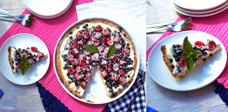 słodka tarta z owocami, niedzielny deser, letnie ciasto, wypieki