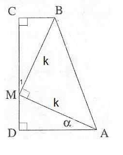 בעיה פתורה בטריגונומטריה 4 יח' - משולש ישר זוית בתוך טרפז ישר זוית