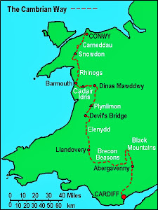My route - from just south of Llandovery to Conwy