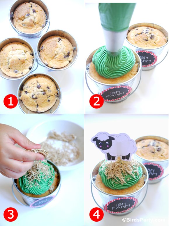 Barnyard Birthday Party: DIY Farm Animal Cupcake Pails Recipe - BirdsParty.com