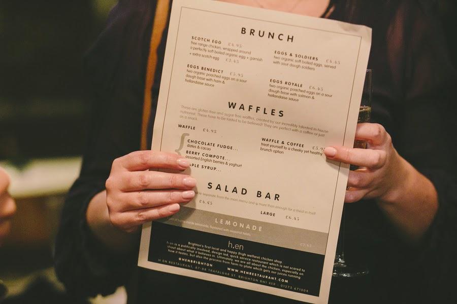 h.en restaurant menu, Brighton http://www.sarahlondonphotography.co.uk/