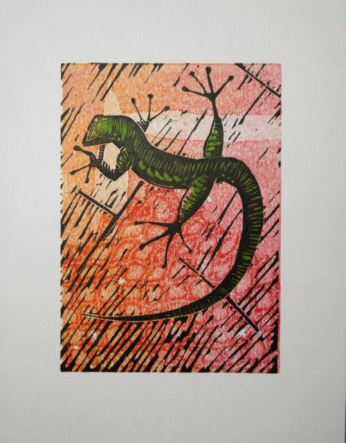 Lizard linocut on monoprinted background