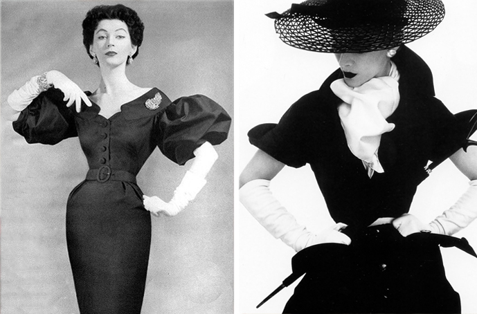 Dovima photographed by Richard Avedon & Lisa Fonssagrives photographed by Irving Penn for Vogue April 1950 via fashioned by love british fashion blog