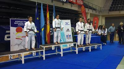 Podium cadete en el campeonato Internacional  de Judo Aviles
