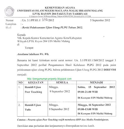 Revisi pengumuman ujian ulang PLPG Uin Malang