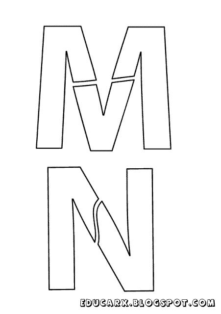 Modelo de letras para cartaz m n