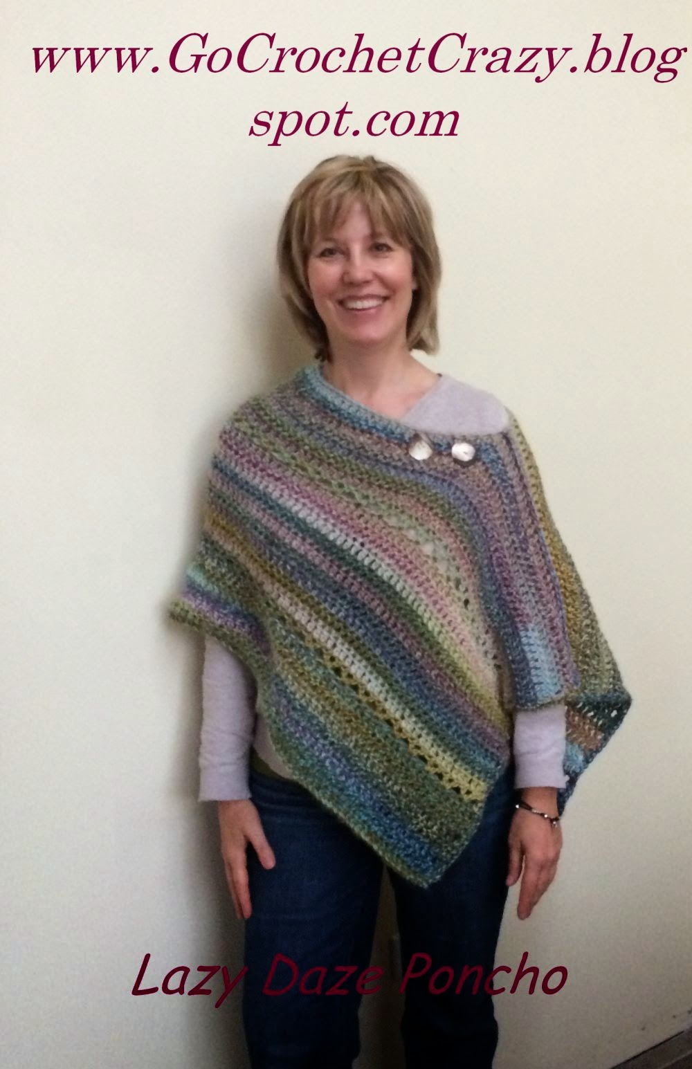 Lazy Daze Poncho by Go Crochet Crazy using Red Heart Boutique Treasures in Watercolor