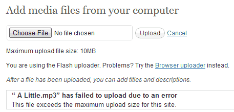 WordPress file size upload error