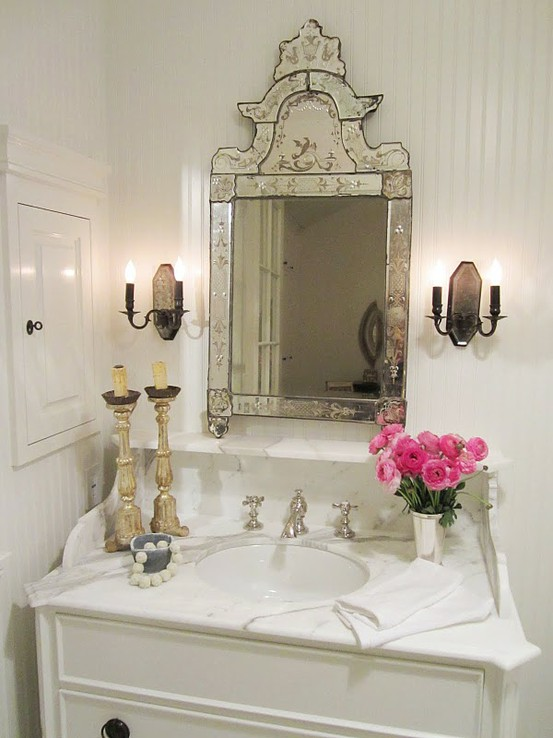 Prairie perch venetian mirrors Pretty powder room ideas
