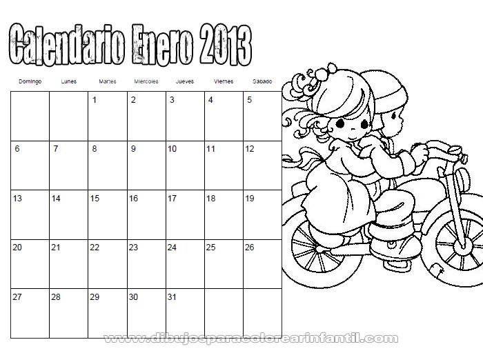 Calendario Enero 2013 De Preciosos Momentos Para Colorear