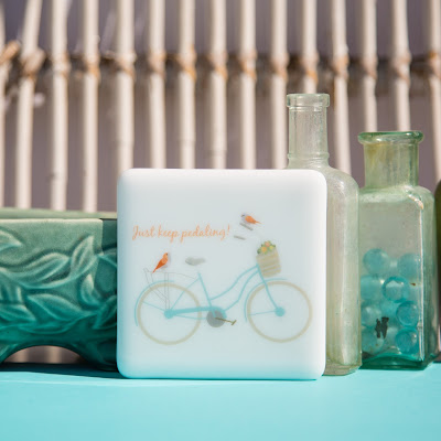 bicycle, fused glass, Sassy Glass Studio, Knoxville, TN, blue, sky