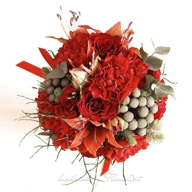 Czerwony, jesienny bukiet ślubny.