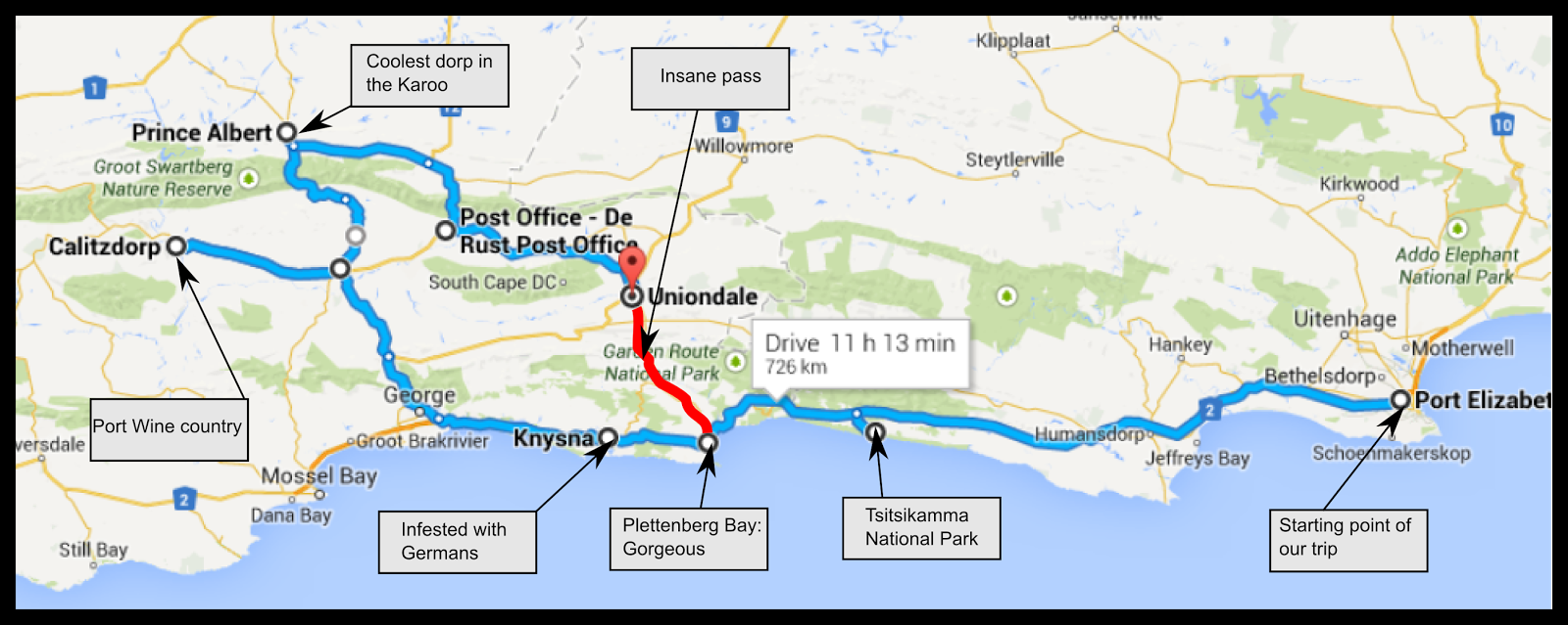 the third leg of our trip took us from knysna to calitzdorp with several stops along the way notably this drive took us through the oteniqua mountains