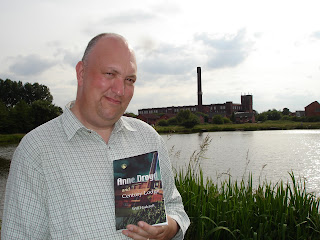 Will Hadcroft at the real Century Lodge and Mill with his first novel, Anne Droyd and Century Lodge