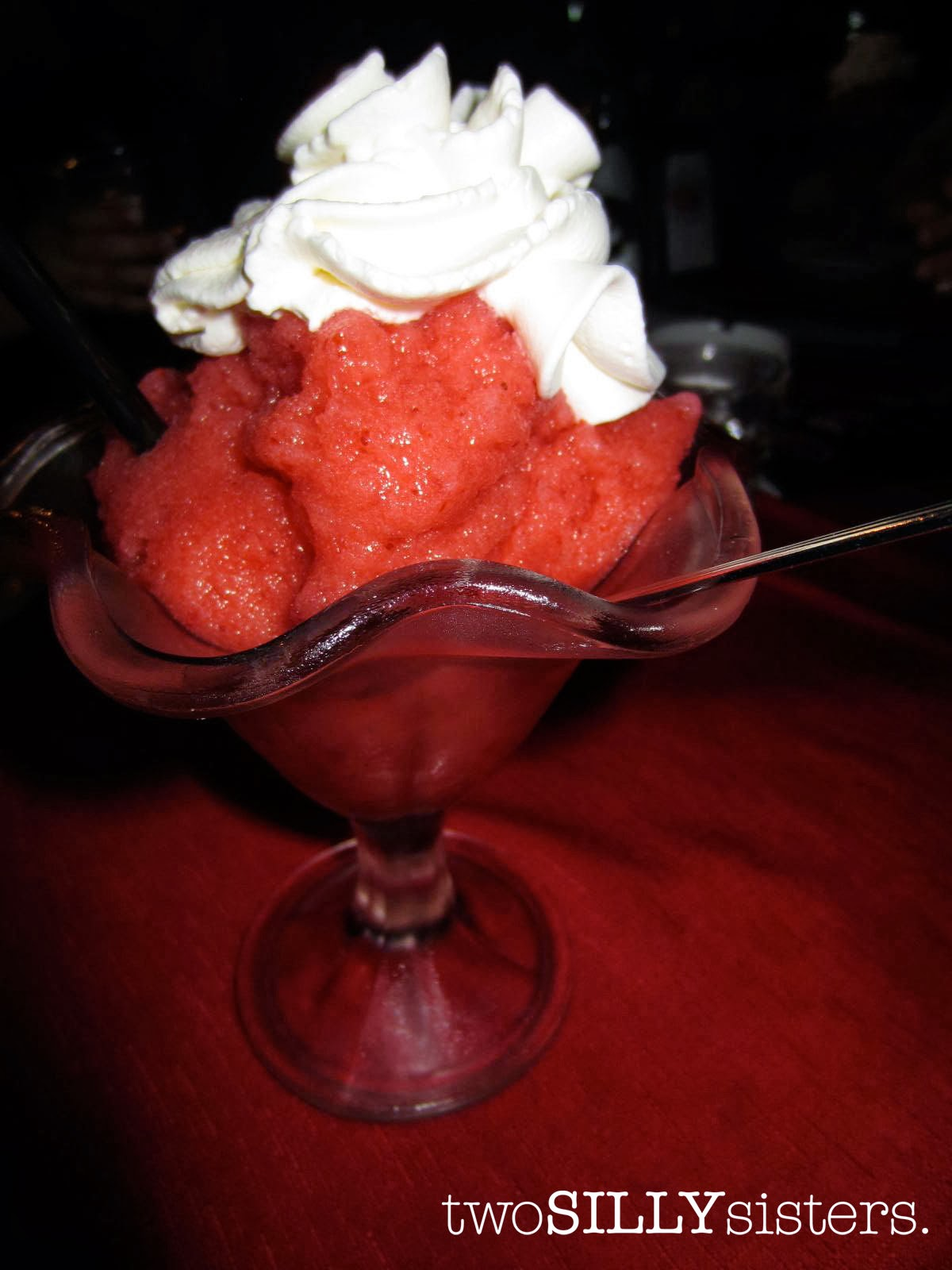 gluten free strawberry granita served with whipped cream divine