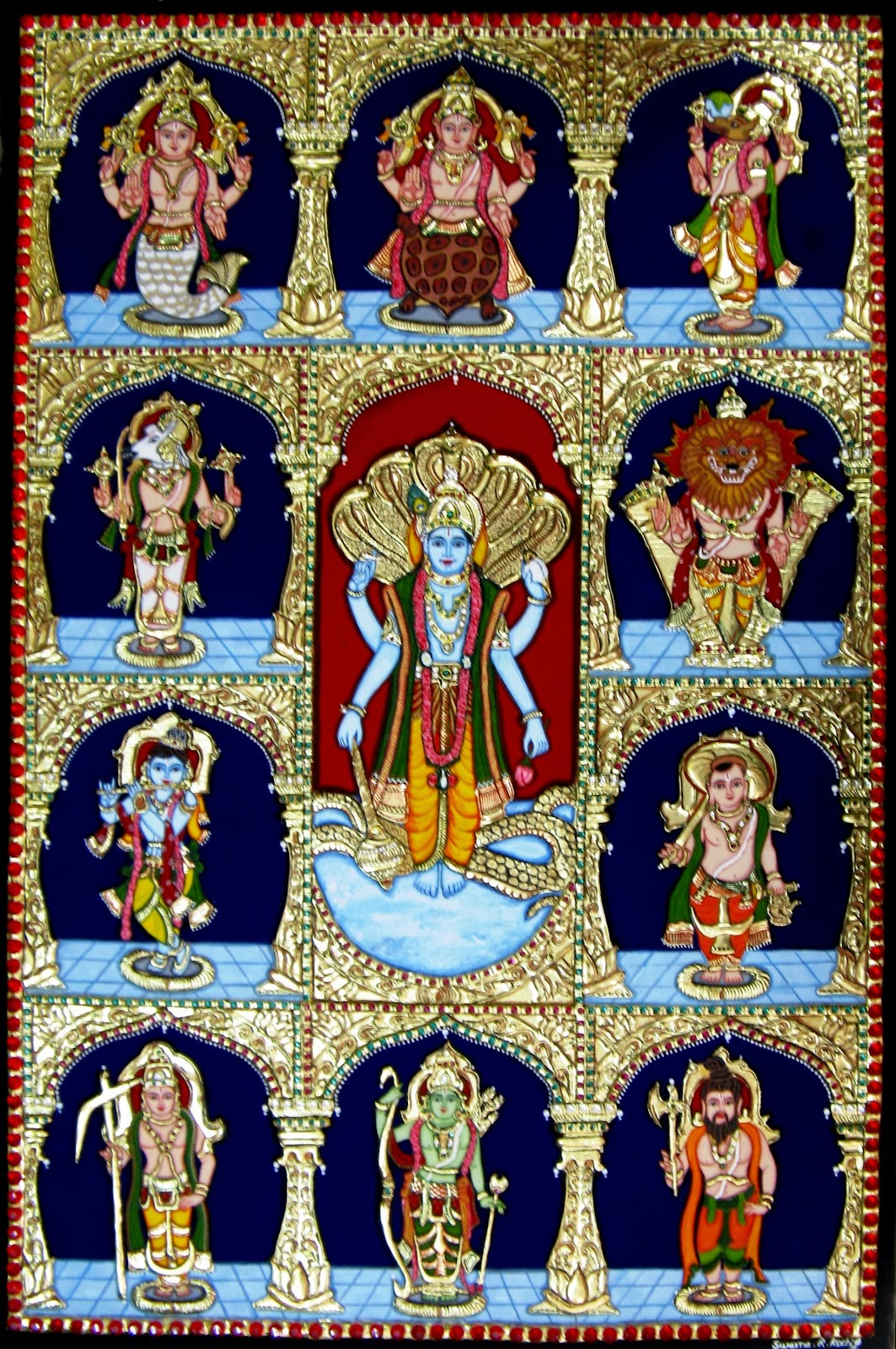 Dasavatharam the 10 incarnations of lord vishnu for Mural fish in tamil