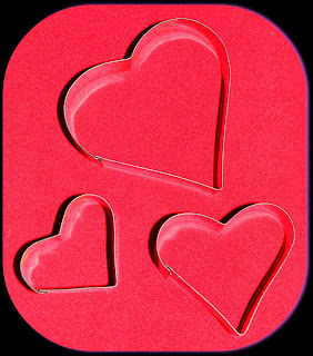 heart shapes on red background
