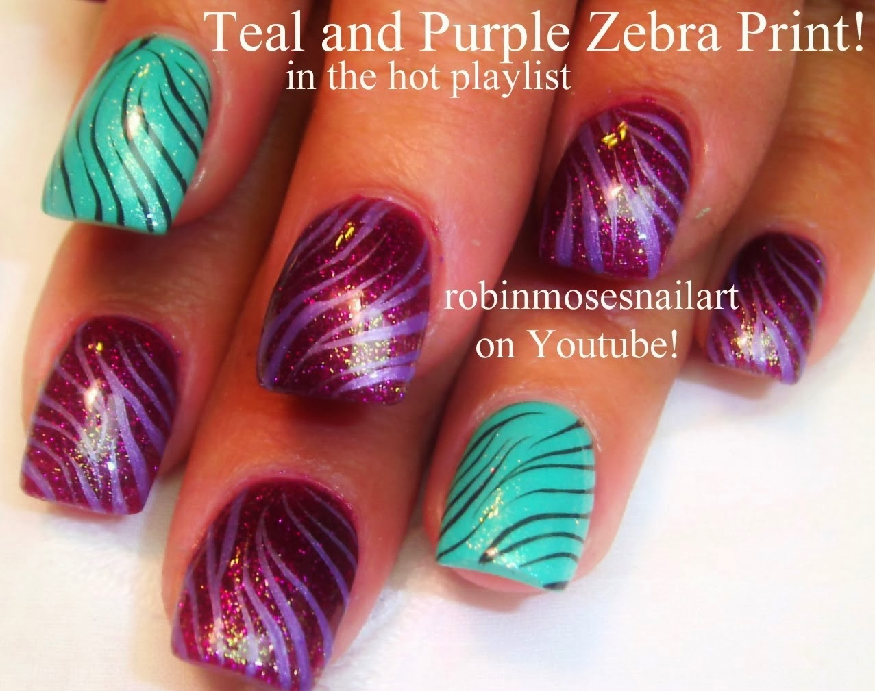 Purple Zebra Print Nail Art