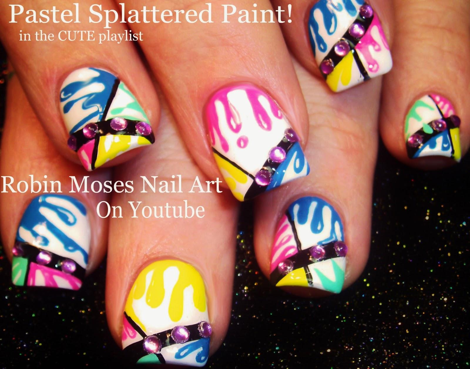 Robin moses nail art color dripping nail design splatterpaint nail art pastel splatter paint nails fun color dripping nail design prinsesfo Choice Image