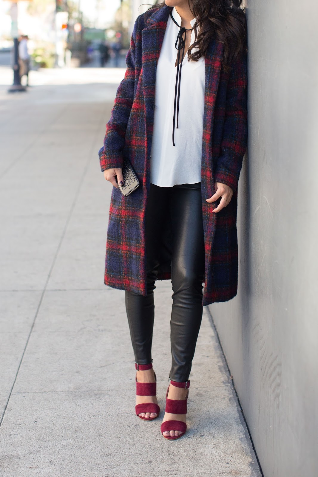 how to wear plaid coat, STILL cell case, madewell oxblood heels, leather pants, winter outfit