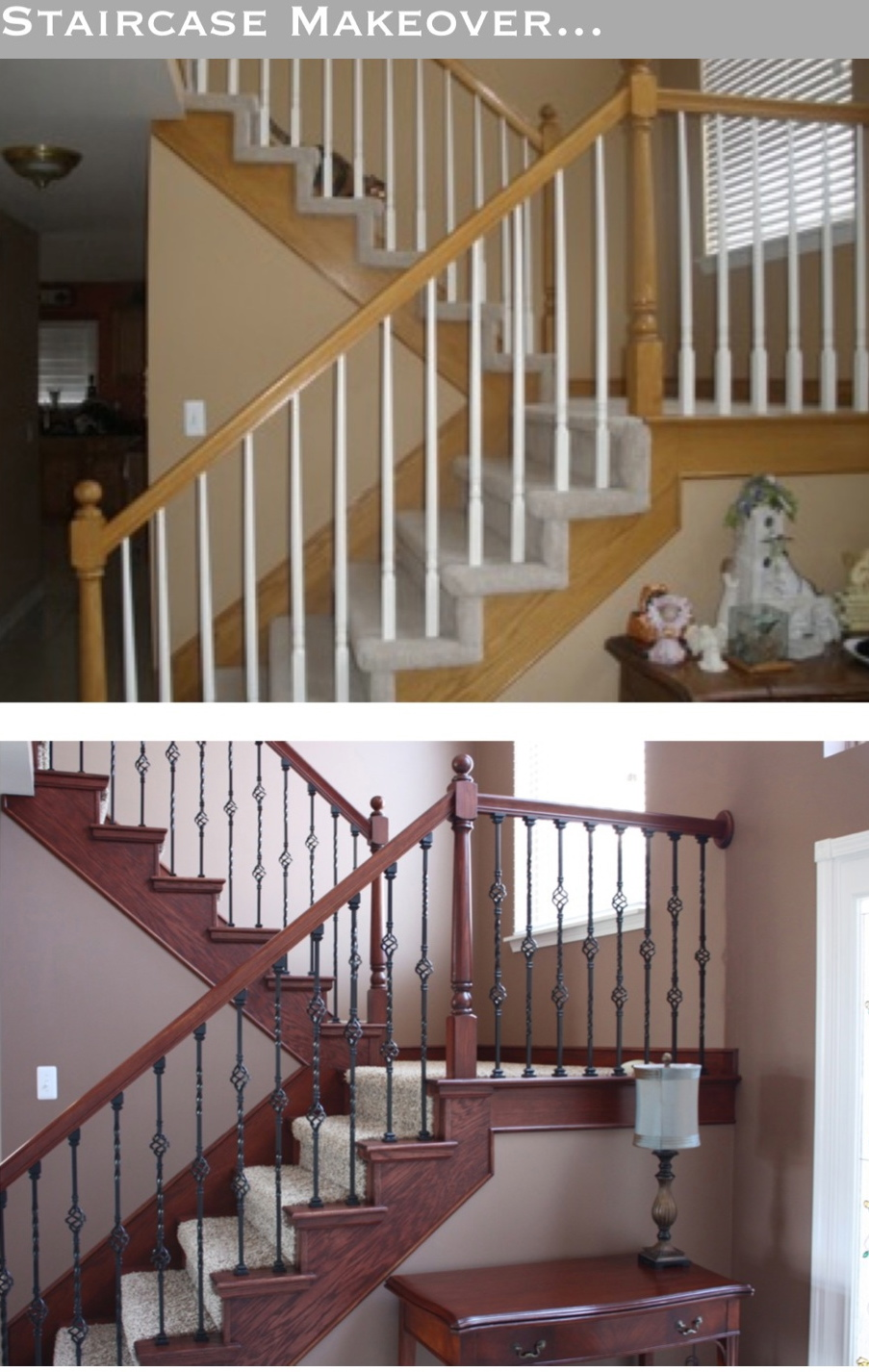 The yellow cape cod staircase makeover before and after for Diy staircase makeover