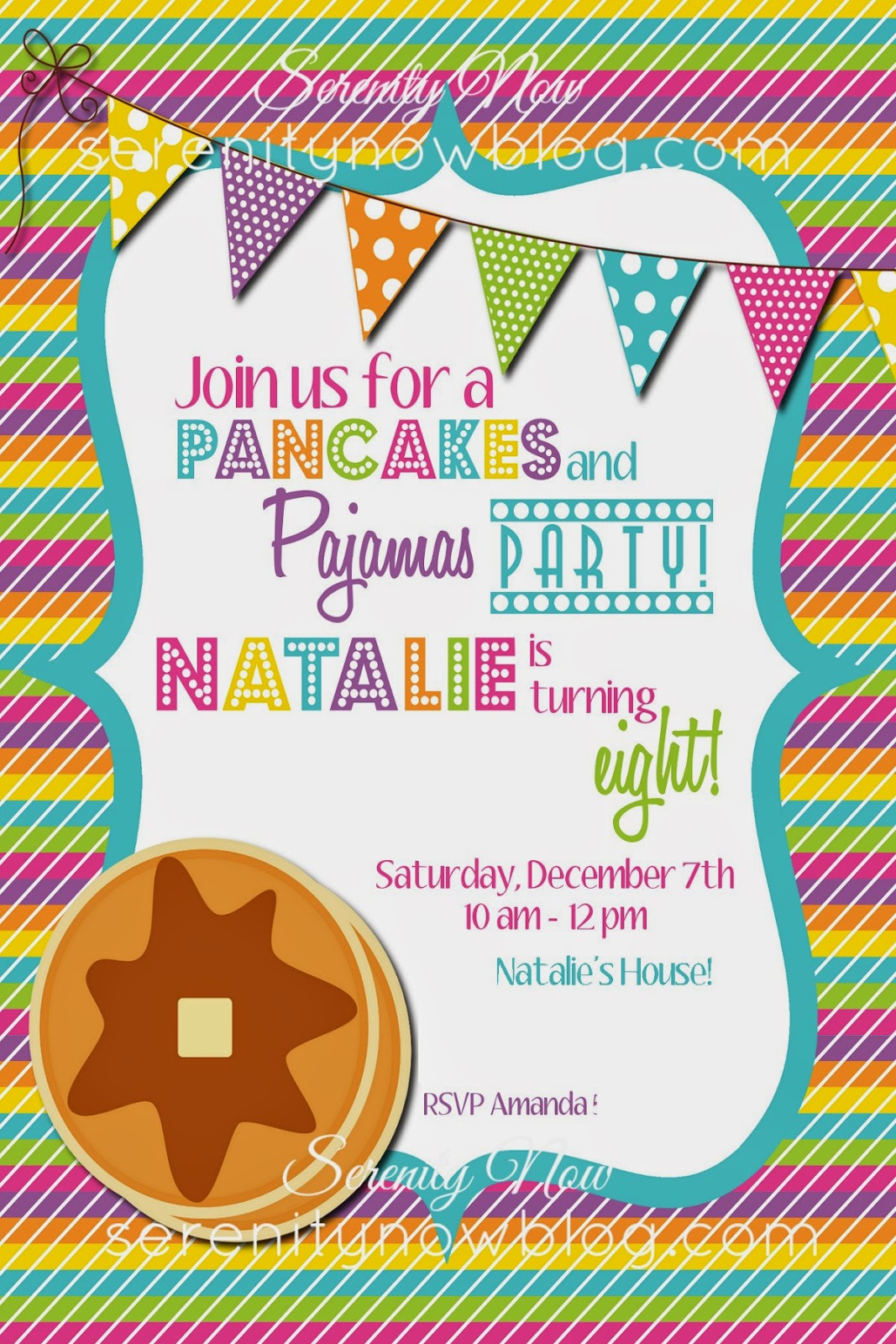 Serenity Now Pancakes and Pajamas Theme Birthday Party – Pancake Party Invitations
