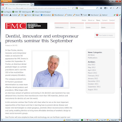 Screen shot of https://www.fmc.co.uk/news/all-news/dentist-innovator-and-entrepreneur-presents-seminar-this-september/.