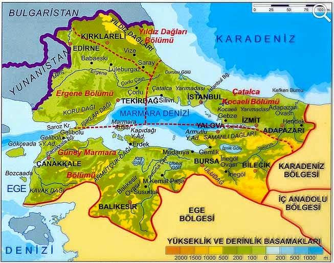 Marmara B�lgesi Fiziki Haritas�