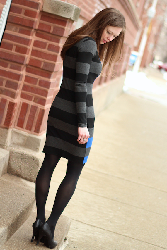 Long Sleeved Gray & Black Striped Dress | StyleSidebar