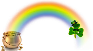 St. Patrick Greeting, St. Pattys day greeting, rainbow, pot of gold, green clover