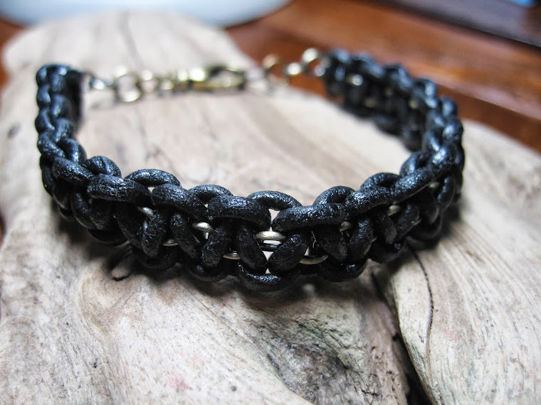 leather and chain cobra bracelet