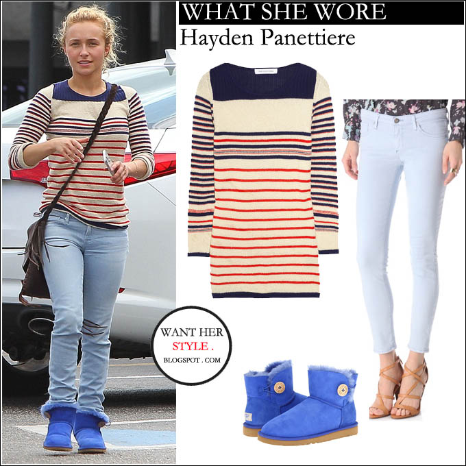 WHAT SHE WORE: Hayden Panettiere in stripe sweater with light blue skinny jeans and bright blue ankle boots in Miami on February 19 ~ I want her style ...