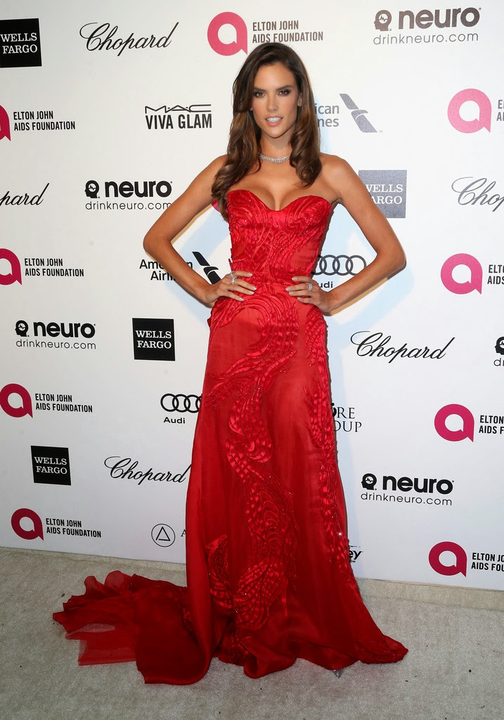 Supermodel: Alessandra Ambrosio - Elton John AIDS Foundation's Oscar Viewing Party, Hollywood