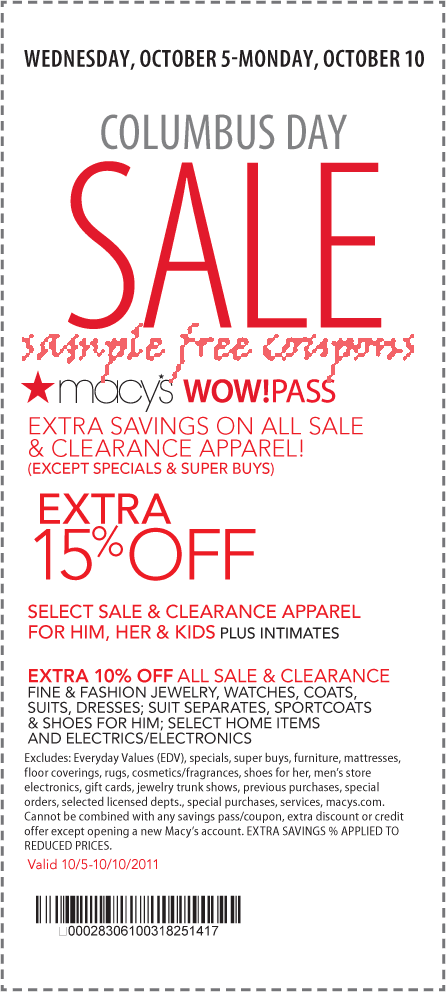 "Latest Macy's Coupon Codes (Newest Listed First): This is a list of promo codes that you can enter into Macy's online shopping cart to save yourself some money. For featured promotions and flash sales, check out the ""flash sales"" list below."
