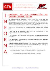 INFORME DE LA INSPECCIÓN DE TRABAJO SOBRE COCINA