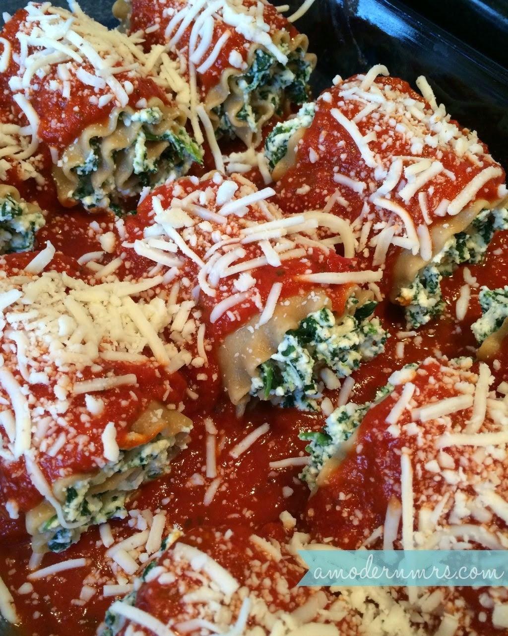 Healthy Spinach Lasagna Rolls Recipe — A Modern Mrs.