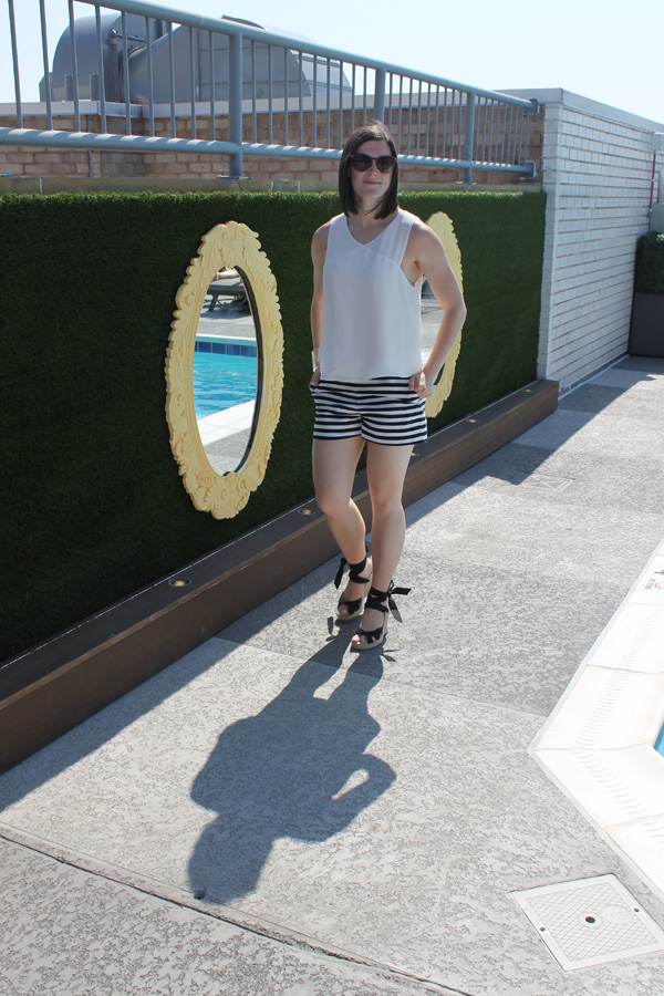 Express striped shorts, Nordstrom blouse, Mars Vida, summer outfit, old navy wedges