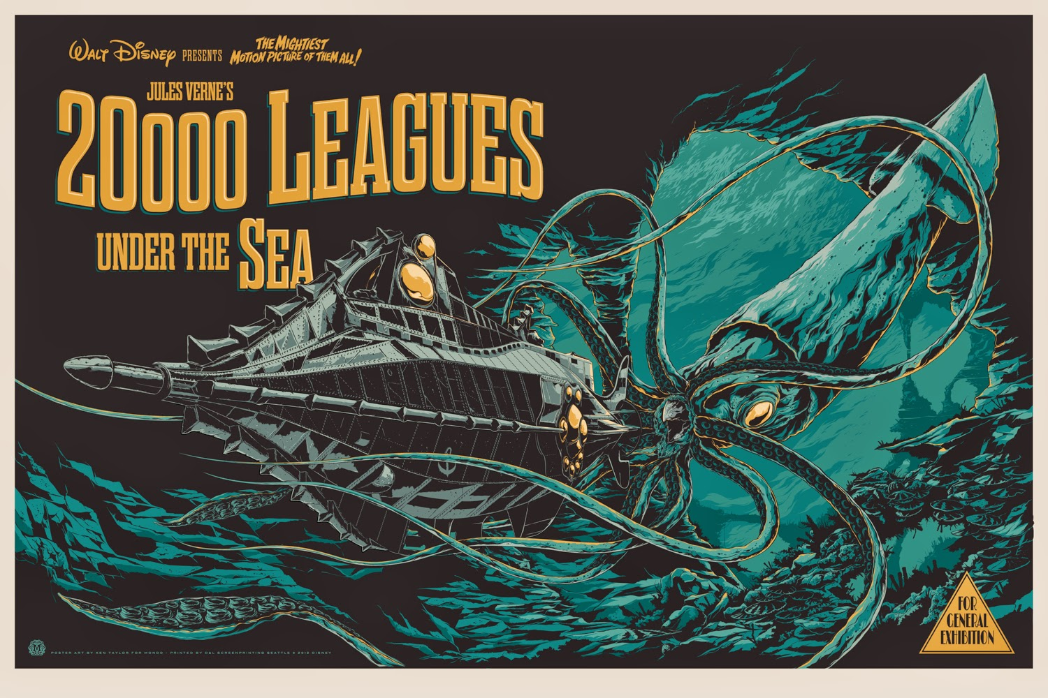 Disney poster of 20,000 leagues under the sea
