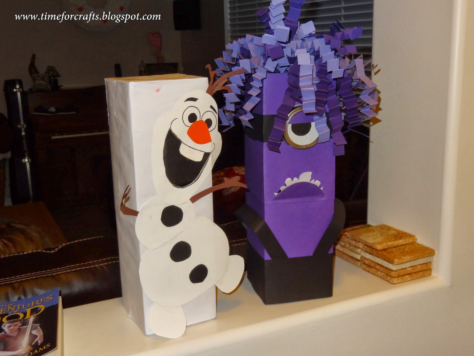 Jared Picked Making A Purple Minion And Samantha Decided To Make Her Own  Olaf Box. The Openings For The Valentines U0026 Treats To Enter The Box Is The  Mouth On ...