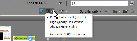 Izaberite Prefer Embedded (Faster) iz Options for thumbnail quality and preview generation liste