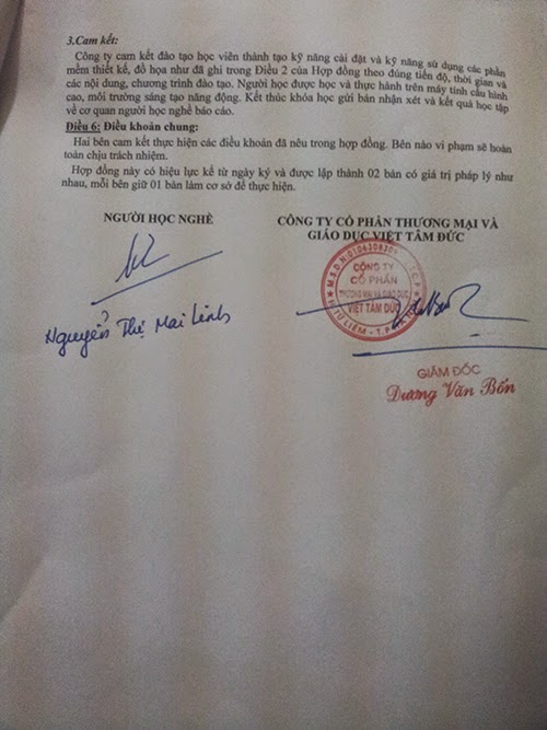 Hợp đồng đào tạo nghề cho học viên tham gia các khóa học tại Việt Tâm Đức