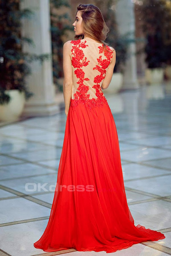 Embellished Bodice With Chiffon Scoop Prom Dresses