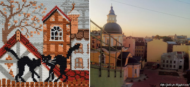 Riolis 613, кошки на крыше, кошки осень риолис, вышивка, вышивка крестом, крыши Питера, Петербург крыши