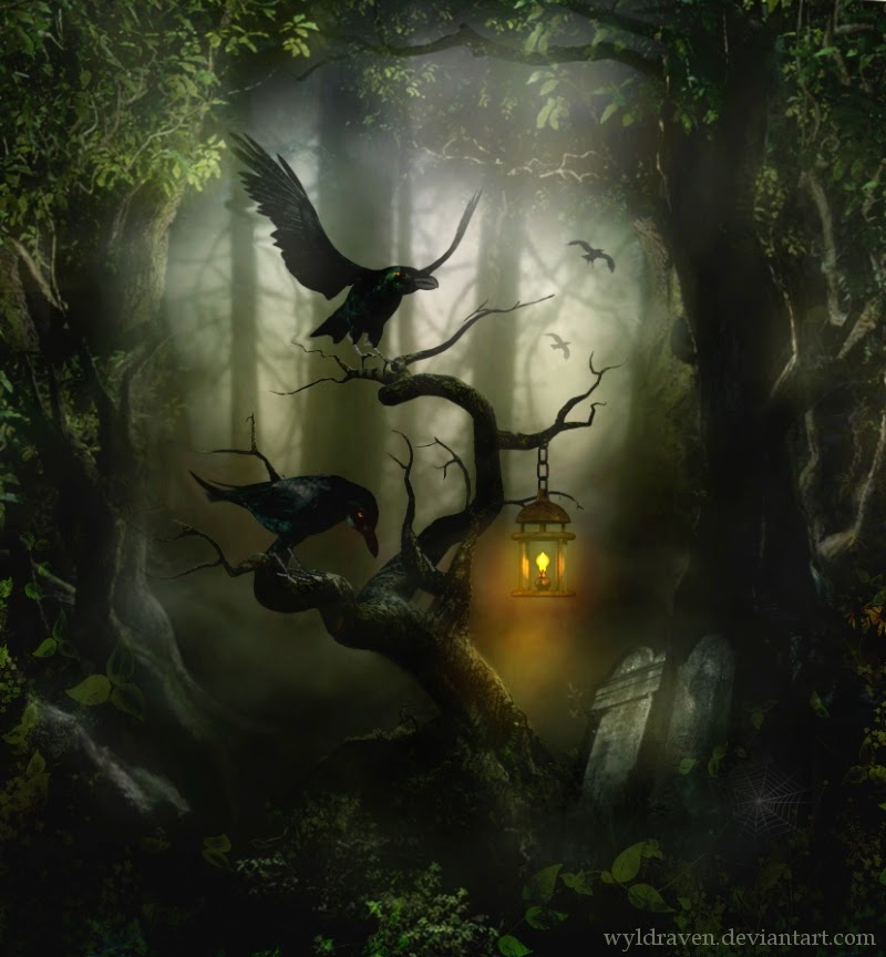 21-Ravens-Hollow-wyldraven-Surreal-Night-Time-Photo-Manipulation-www-designstack-co