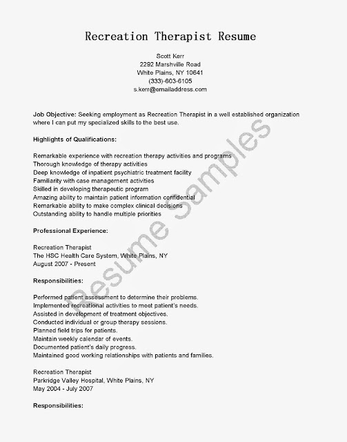 great sle resume resume sles recreation therapist