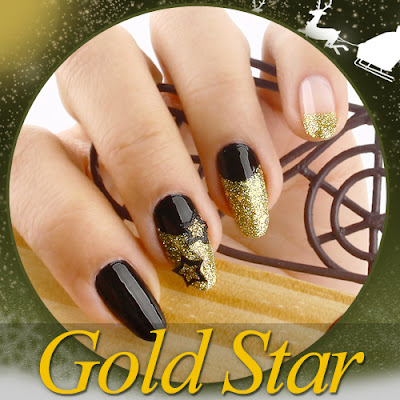 Black Polish with Gold Glitter