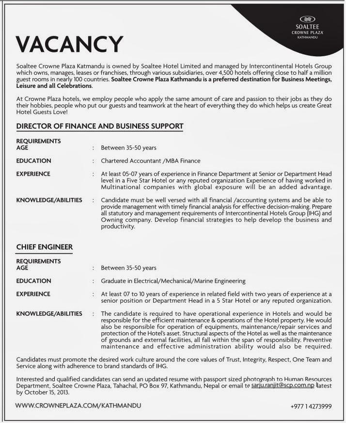 Electrical/Mechanical/Marine Engineer Job Vacancy - Soaltee Crowne