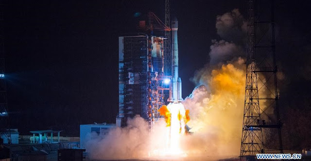 Long March-3B carrier rocket is launched with a Belarusian telecom satellite in Xichang of southwest China's Sichuan Province. Credit: Xinhua/Liu Chan