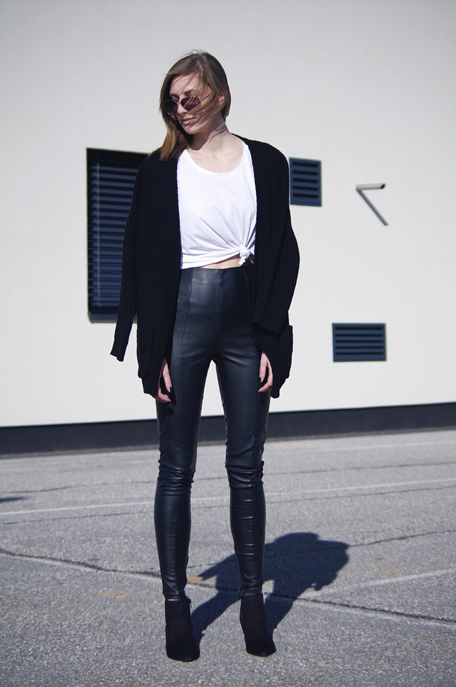 leather pants, black and white outfit, blogger, minimalistic style