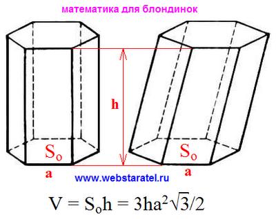 Объем шестиугольной призмы. Объем шестигранной призмы формула. Высота призмы картинка. Математика для блондинок.